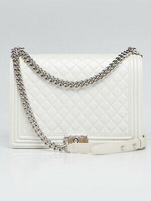 c9de3d133925 CHANEL PEARL WHITE Quilted Lambskin Leather Large Boy Bag ...