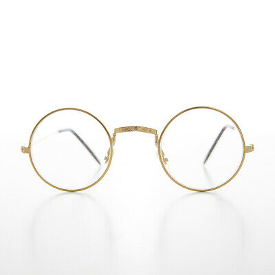 Gold Small Round Circle Spectacle Eyeglass Real Glass Lens Optical Frame - Emory