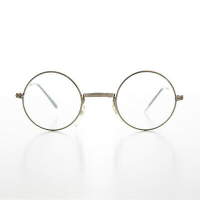 Silver Small Round Spectacle Eyeglass Real Glass Lens Optical Frame -Emory
