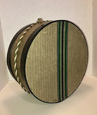 "Vintage MCM Mid Century Hat Box Green Black Stripes Textured 14"" Prop"