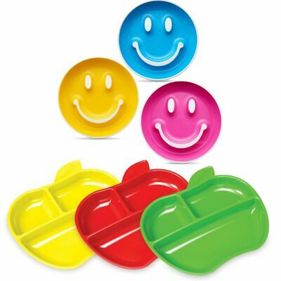 Munchkin Baby Newborn Toddler Smile N Scoop Training Plate, Lil Apple Plates 3Pk