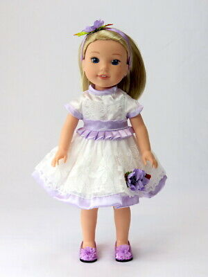 """Purple And White Dress Headband Fits Wellie Wisher 14.5"""" American Girl Clothes"""