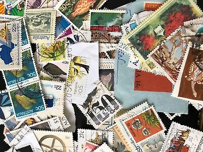 Collection of 100 + Australian Stamps mostly vintage