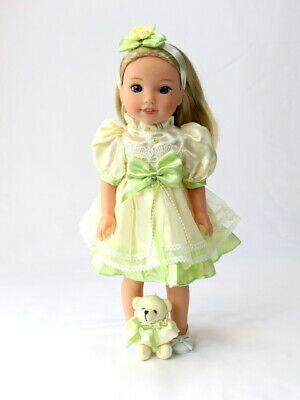 """Green And Yellow Dress Bear Fits Wellie Wisher 14.5"""" American Girl Clothes"""