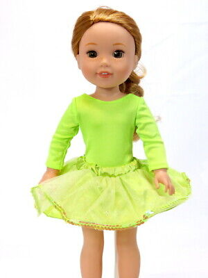 "Lime Green Glitter Dance Tutu Set Fits Wellie Wisher 14.5"" American Girl Clothes"