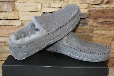 2257419e0 NIB UGG Mens ASCOT Wool UGGPure Lined Slip On Moccasin Slippers GRAY 10 11  12 13