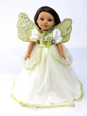 "Sparkling Gold Angel Dress Fits Wellie Wisher 14.5"" American Girl Clothes"
