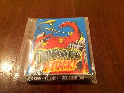 """(1) Unopened Mint Wax Pack 1988 Topps """"Dinosaurs Attack"""""""