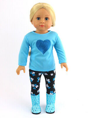 """Blue Glitter Heart Pant Set Fits 18"""" American Girl Doll Clothes"""