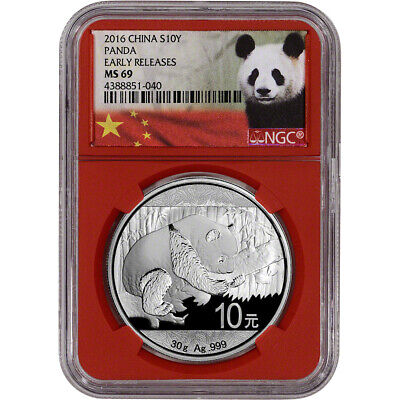 2016 China Silver Panda (30 g) 10 Yuan - NGC MS69 Early Releases Red Core Holder