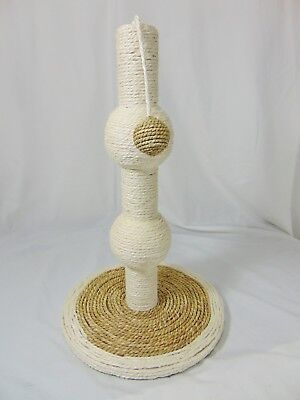 """Cat Scratch Scratching Post with Play Ball on Rope Round Wood/Rope Kitten 18"""""""