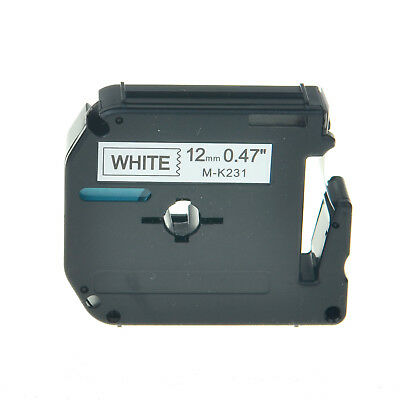"""M-K231 MK231 Label Tape Black on White Compatible1/2"""" For Brother P-Touch 12MM"""