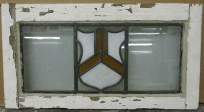 "OLD ENGLISH LEADED STAINED GLASS WINDOW Awesome Geometric Shield 22"" x 11.75"""