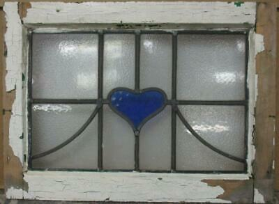 """OLD ENGLISH LEADED STAINED GLASS WINDOW Pretty Heart & Sweep Design 20.25"""" x 15"""""""