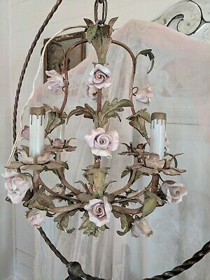 Shabby Old Italian Tole Lush Pink Porcelain Roses Chandelier Patina
