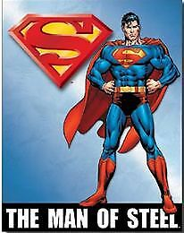 Superman The Man Of Steel Tin Sign Garage Art Man Cave Wall