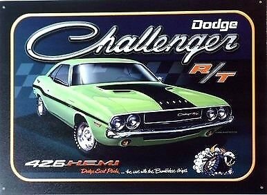 SET OF 4: Challenger, Charger, Super Bee, Dart Metal Sign Garage Art Man Cave