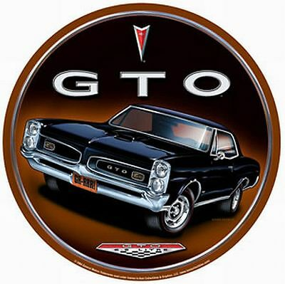 Pontiac GTO Round Vintage Tin Metal Sign Garage/Man Cave Wall Art