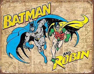 Batman and Robin Metal Tin Sign Garage Art Man Cave Wall