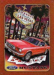 Ford Mustang Las Vegas Metal Tin Sign Garage Art Man Cave Wall