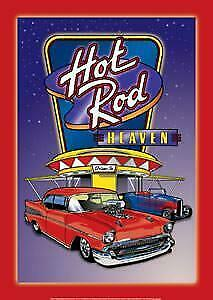 Hot Rod Heaven Vintage Tin Metal Sign Garage/Man Cave Wall Art