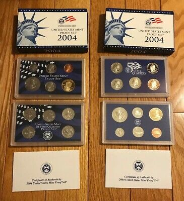 2004 S US Mint Proof 11 Coin Set Complete with Box & COA - Lot of 2