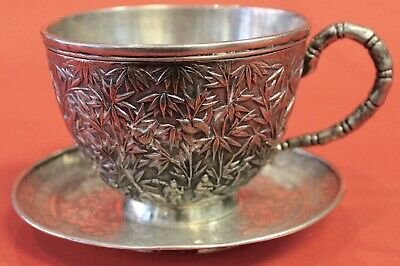 Antique Chinese Export Silver 100 Year Old Cup And Saucer Bamboo And People