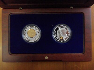 """2011 50c Selectively Gold Plated Silver Proof 2 Coin Set: """"Royal Wedding."""""""