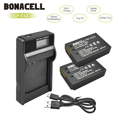 AU 2 x LP-E12 Battery+charger for Canon Rebel SL1 EOS-M EOS M2 M10 Mirrorless UB