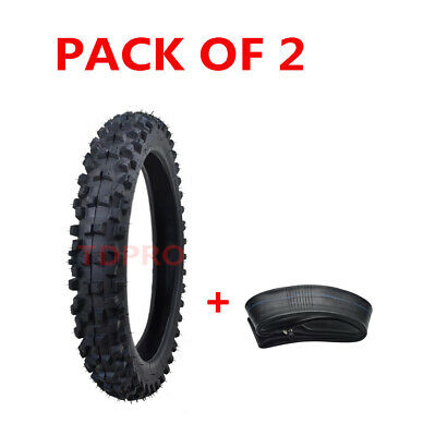 Pair 60/100-14 Front Tire Tyre+ Tube for Dirt Pit Bike PW80 CRF70 KLX110 CRF110F