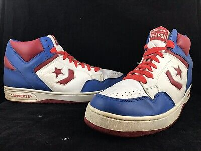 fd826e8ce9ad Vintage Mens CONVERSE WEAPON Red White Blue Hi Top Basketball Shoes SIZE 13