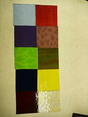 Glass Squares 75 x 75mm x 10 hand cut for mosaic or glass craft leadlight