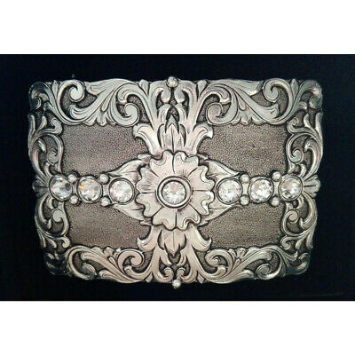 AndWest  Western Buckle Silver Diamante Floral rrp$44.95