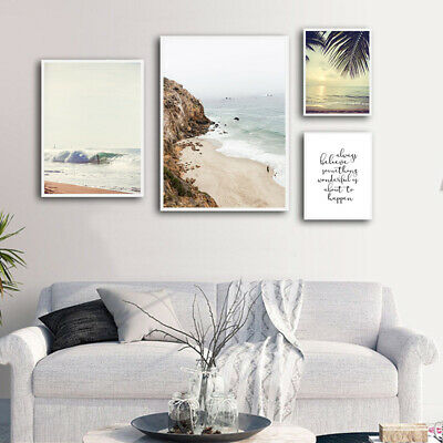 Sea Beach Sunset Landacape Canvas Poster Nordic Wall Art Print Living Room Decor