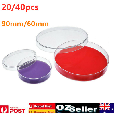 20/40 x 60cm/90cm Sterile Plastic Petri Dishes Plate For Lab Bacterial Yeast  AU
