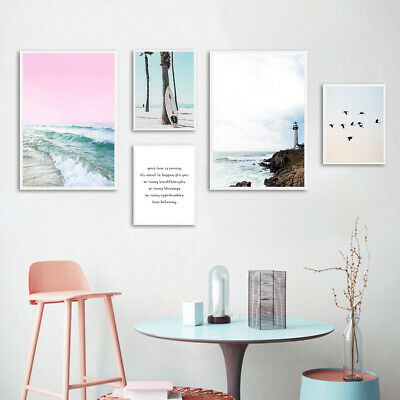Ocean Beach Wall Art Canvas Poster Nordic Pink Sea Print Picture Home Decoration