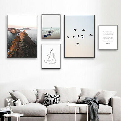 Ocean Beach Wall Art Canvas Poster Nordic Print Picture Skandinavian Decoration