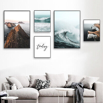 Ocean Waves Wall Art Canvas Poster Nordic Print Picture Skandinavian Decoration