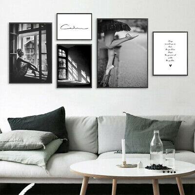 Abstract Wall Art Canvas Poster Black White Nordic Print Skandinavian Decor