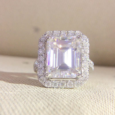 5.50Ct White Emerald Cut Diamond Engagement & Wedding Certified 14K Gold Ring