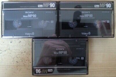 3 x Sony Metal MP90 Video 8 8mm Camcorder Tape