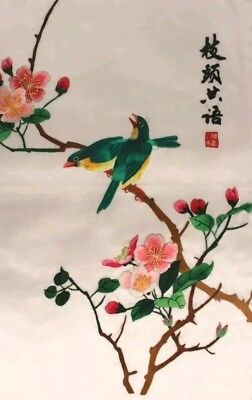 Vintage Chinese Silk Art of Bird on Branches - Beautiful embroidery