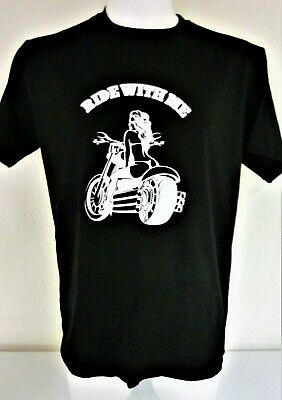 RIDE WITH ME T-Shirt Biker Für Manner Frauen