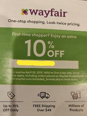 Wayfair Coupon 10% off Online valid on first purchase ~~ Expires 4/30/2019