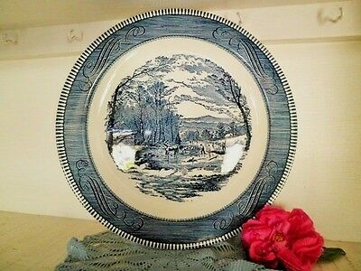 Vintage Platter Blue & White Royal China Currier & Ives Usa Round Plate 31.5Cm