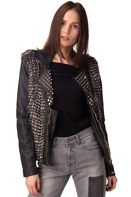 MET Biker Jacket Size S PU Leather Faux Fur Trim Studded Zipped Made in Italy