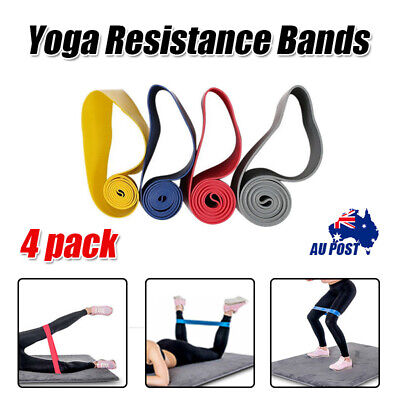 Women Men SET Of 4 POWER YOGA RESISTANCE BANDS LOOP Fitness Gym Exercise Workout
