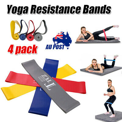 Set Of 4 YOGA Heavy Duty Resist Band Loop Power GYM Workout Exercise Fitness Pro