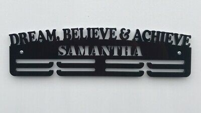 Personalised Thick Acrylic 3 Tier DREAM BELIEVE /& ACHIEVE Medal Hanger// Rack