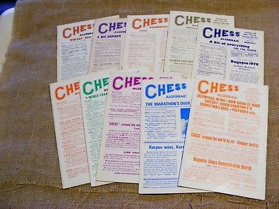 "10 copies of ""Chess"" Magazine from 1978. Sutton Coldfield. Ed B H Wood. VGC"